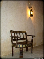 Hand-carved wooden chair