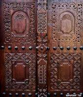A hand-carved door