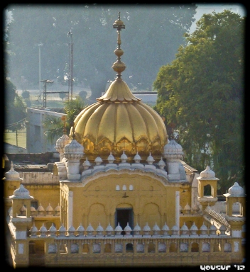 The gold dome of the gurdwara