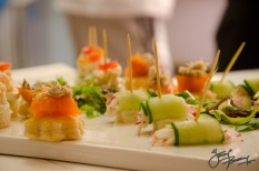 Salmon and crab canapes